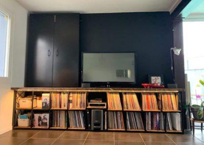 meuble TV à vinyles et son meuble CD